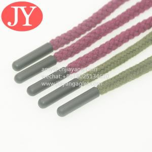 China factory direct produce red/ green round cotton strings end with color plasitc aglet shoelace silicone aglets tips wholesale