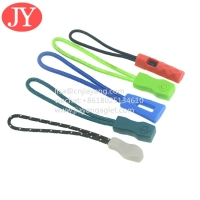 China JiaYang direct product good quality zip tags cord ,cord pvc rubber zipper puller 3D raised logo wholesale