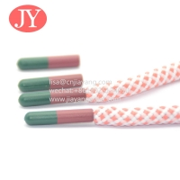 China made with plastic bottles round cord shoe lace wholesale custom logo colorful polyester head transfer shoe lace tip wholesale