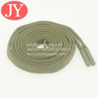 China Jiayang wholesale flat elastic cotton drawstrings for hoodies/shorts/sport pants end with TPU soft plastic aglets wholesale