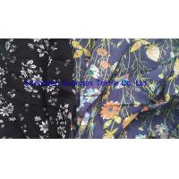 China Soft Rayon Lawn Fabric With All Over Reactive White Floral Print On Semi Bleached Background wholesale