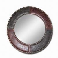 China Leather Framed Mirror with Nail, Available in Various Sizes, Customized Colors are Welcome wholesale