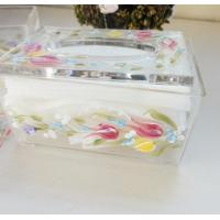 China Acrylic Tissue Box , Acrylic napkin case with beautiful silk printing wholesale