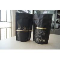 China Coffee Bean Packaging Matte Black Foil Pouch Packaging , Stand Up Degassing Valve wholesale