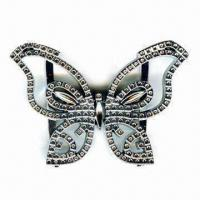 China Plastic Clip Buckle, Comes in Butterfly-shape, with 2 Bars at Back wholesale