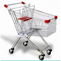 China Steel Wire Shopping Trolley Grocery , Supermarket Folding Wire Shopping Cart With Seat wholesale