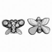 China Butterfly-shaped Metal Buckle for Shoes/Garments, with White Epoxy Color wholesale