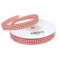 China 100% Polyester Double Faced Ribbon , Smooth Surface Gingham Check Ribbon wholesale