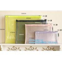 China Mesh PVC Document File Bags With Zipper Closure A4 A5 A6 Size File Packing Bags, A5 B5 zipper mesh file bags, slider zip on sale