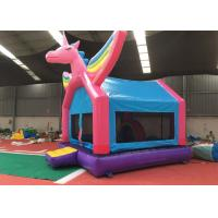 China Pink Rainbow Unicorn Bounce House For Adult Fire Retardant And UV Protective Material wholesale