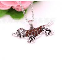 China Antique Alloy plated dachshund design Pandants nacklace jewelry Crystal gift on sale
