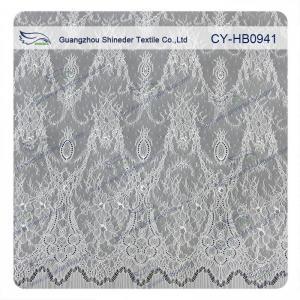 China Antique Decorative Eyelash Lace Trim Fabric With Scallop , Floral Lace Trim wholesale