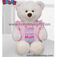 China White Plush Teddy Bear Toy with Pink Dressing as Mother's Day Gift wholesale