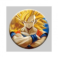 China Round 5x5cm 3D Flip Lenticular Anime Pins With Goku wholesale