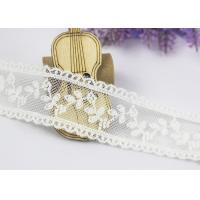 China Scalloped Floral Embroidery Cotton Nylon Lace Trim For Ivory Lace Wedding Dress wholesale