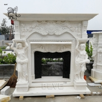 China Large White Marble Fireplace Mantel lady statues Solid Stone Hand Carved European Style wholesale