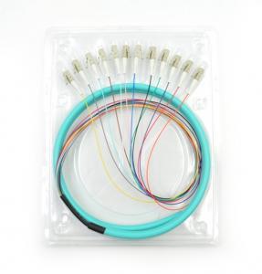 China LC/UPC 50/125 APC OM3 3m 12core Fiber Optic Pigtail wholesale