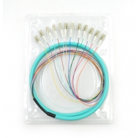 Buy cheap LC/UPC 50/125 APC OM3 3m 12core Fiber Optic Pigtail from wholesalers