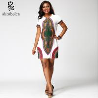 China Mosaic Womens African Print Dresses Clothing Round Collar Dashiki Style wholesale