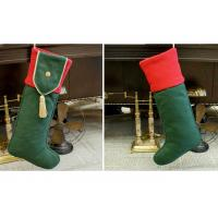 China Plain Style Personalized Fashion Gifts Polyester Patchwork Christmas Stocking wholesale