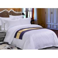 China Pure White Sateen Otel Duvet Bedding With Purple Bed Runner wholesale