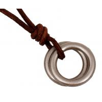 China Double circle head layer cowhide necklace restoring ancient ways Leather necklace wholesale