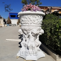 China Natural Garden Planter Hand Carving Marble White Stone Flowerpots Luxury wholesale