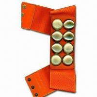 China 2.5-inch Width Elastic Belt in Fake Leather Tab and Stund, Assemble with Snap Buttons wholesale
