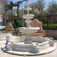 China Marble Garden Water Fountain White Stone Hand Carved Outdoor Decoration wholesale