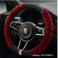 China new design red fur black pu warmer 38cm car steering wheel cover wholesale