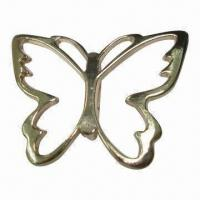 China Metal buckle/slider in butterfly shape, with single bar at back, shiny rose gold color wholesale