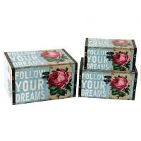 China vintage leather storage box antique Rose Flower jewelry box home decoration wood deck boxes on sale