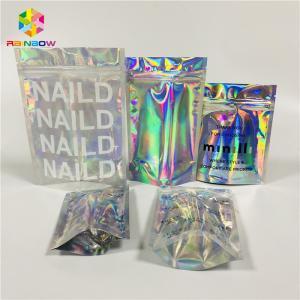 China Foil Laminated Cosmetic Packaging Bag Laser Custom Hologram Mylar Zipper Lock wholesale