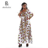 China Peacock Flower Fashionable African Print Dresses Ankara Print In The Sleeves wholesale