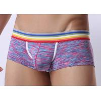Quality Low Waist Mens Underwear Boxer Briefs With Support Pouch , Rainbow Waistband for sale