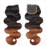 China Three Tone Virgin 4x4 Hair Closure , Hand Tied 4x4 Free Part Closure wholesale