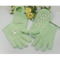 Quality Green Natural Cotton Moisturizing Gel Socks / Gloves for Beauty Women for sale