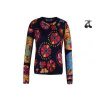 China Open Cardigan Womens Crew Neck Sweaters Button Down With Flower Printing wholesale