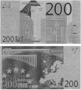 China Fake Euros 200 Silver Plated Banknote wholesale