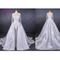 China Long Sleeves Transparent Female Wedding Dress With Train Brides Dresses wholesale