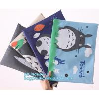 China Stationery A4 Paper Waterproof Office Zipper File Bag, Office Stationery Bright Colors OEM File Bag Pocket Clear PVC Bag wholesale
