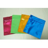 China Small Colorful Aluminium Foil Bag Glossy Three Side Seal Mylar Flat with Ziplock wholesale