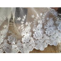 China White Embroidery Flower Cotton Nylon Mesh Lace Fabric 6.29'' Width For Garment wholesale