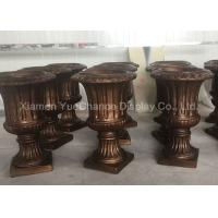 China Custom Design Fiberglass Resin Statues Store Decorative Brown Fiberglass Flower Pots wholesale