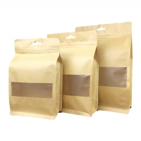 China Food grade material ziplock flat bottom kraft paper bag with clear window and notch on sale