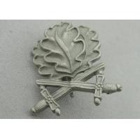 China 3D Leaves Shape Zinc Alloy Souvenir Badges, Memorial Badge with Cross Sword with Misty Nickel Plating wholesale