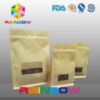 China Flat Bottom Gusset Bags , Quad Seal Block Bottom Bag With Clear Window For Coffee wholesale