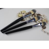 China Wood Handle Professional Foundation Brush Black Handle Color Oval Shape wholesale