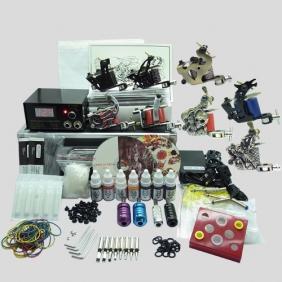 Complete Tattoo Kit 8 Tattoo Machine Gun Power Supply Inks Pigment Grip Tips Needles equipment set