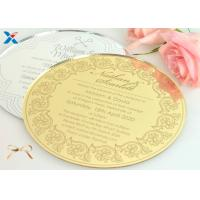 China Round Shape Acrylic Gifts / Acrylic Wedding Invitation Cards With Different Color wholesale